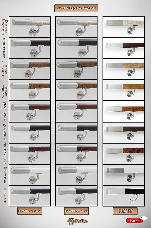 Edelstahl Handlauf wei/ß Holz 42,4mm Gel/änder bis 6 m Wand Treppe Griff Stange Br/üstung 300cm