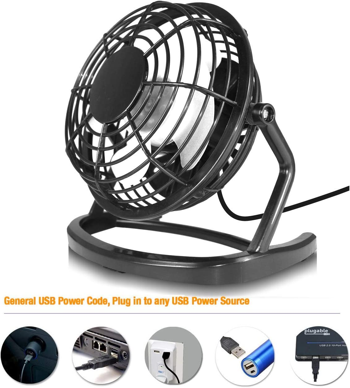 """4inch Compact USB Fan Mini 4/"""" Orzly USB Fan Mini 4 inch Twin Pack of Black 360 Rotation Light-Weight Portable Retro Desk Fans Powered by USB Socket of a Laptop or PC or Any USB Mains Adapter"""