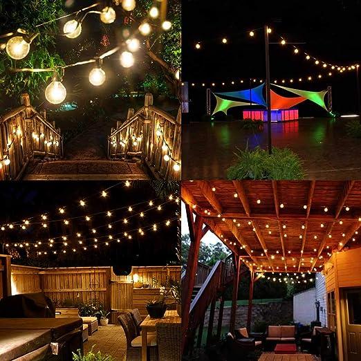 Onumii - Cadena de luces solares de 25 pies, 4400 mAh, 2200 K, luz ámbar, 25 casquillos 27 G40 bombillas LED, románticas luces de cadena decorativas para exteriores, para patio, cubierta, pergola, paraguas: Amazon.es: Jardín