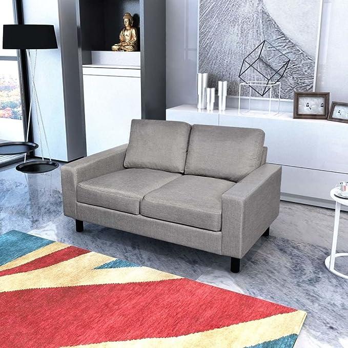 SENLUOWX Sofá de 2 plazas Gris Claro Material Color ...