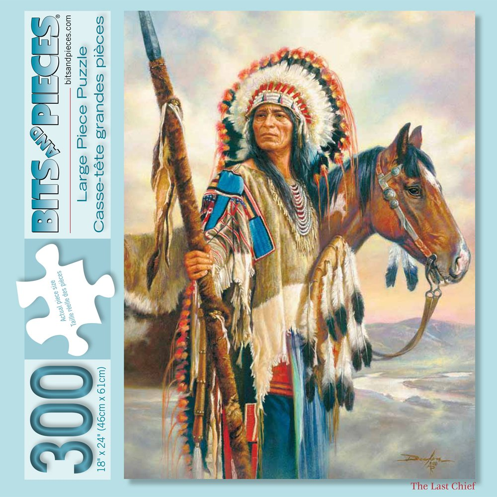 Bits and Pieces - 300 Piece Jigsaw Puzzle for Adults - The Last Chief - 300 pc Native American Jigsaw by Artist Russ Docken