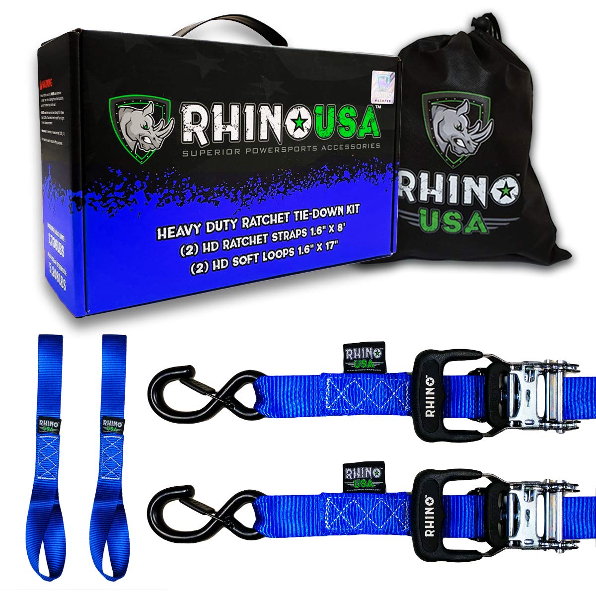 RHINO USA Ratchet Straps Motorcycle Tie Down Kit, 5,208 Break Strength - (2) Heavy Duty 1.6'' x 8' Rachet Tiedowns with Padded Handles & Coated Chromoly S Hooks + (2) Soft Loop Tie-Downs (BLUE)