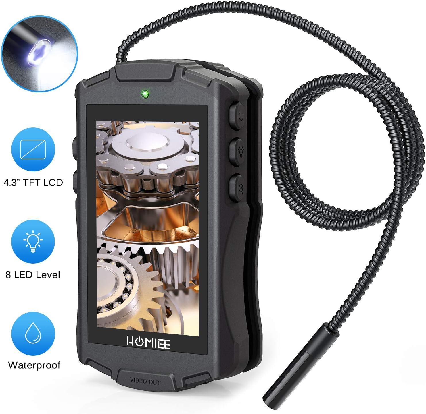Homiee Endoskop Digitale Inspektionskamera Flexible Endoskopkamera Mit 4 3 Zoll Lcd Bildschirm Ip67 Wasserdichte Endoskopröhre 8 Stufen Led Beleutung Und 8mm Durchmesser Auto
