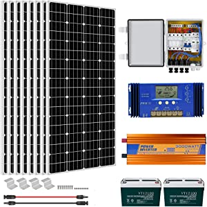 ECO-WORTHY 1500W Off Grid Solar System with 3000W Inverter and Battery Solar Panel Kit for Home House Shed Farm