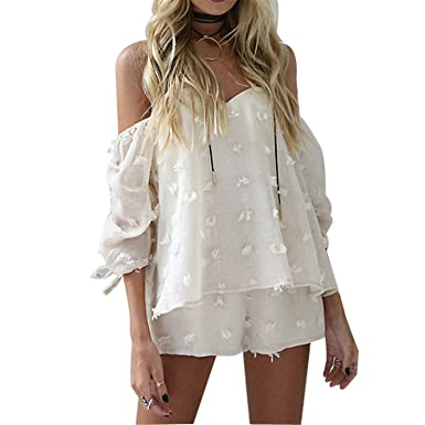 fef71cc71aa Amazon.com  Off Shoulder Organza Striped Jumpsuits romperbeach Bow Sleeve  Women Playsuit  Clothing