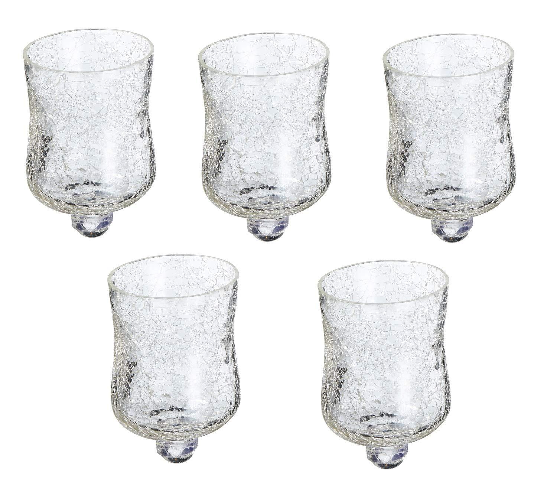 5 x Glasaufsatz f/ür Kerzenst/änder Crackle Design Windlicht Aufsatz