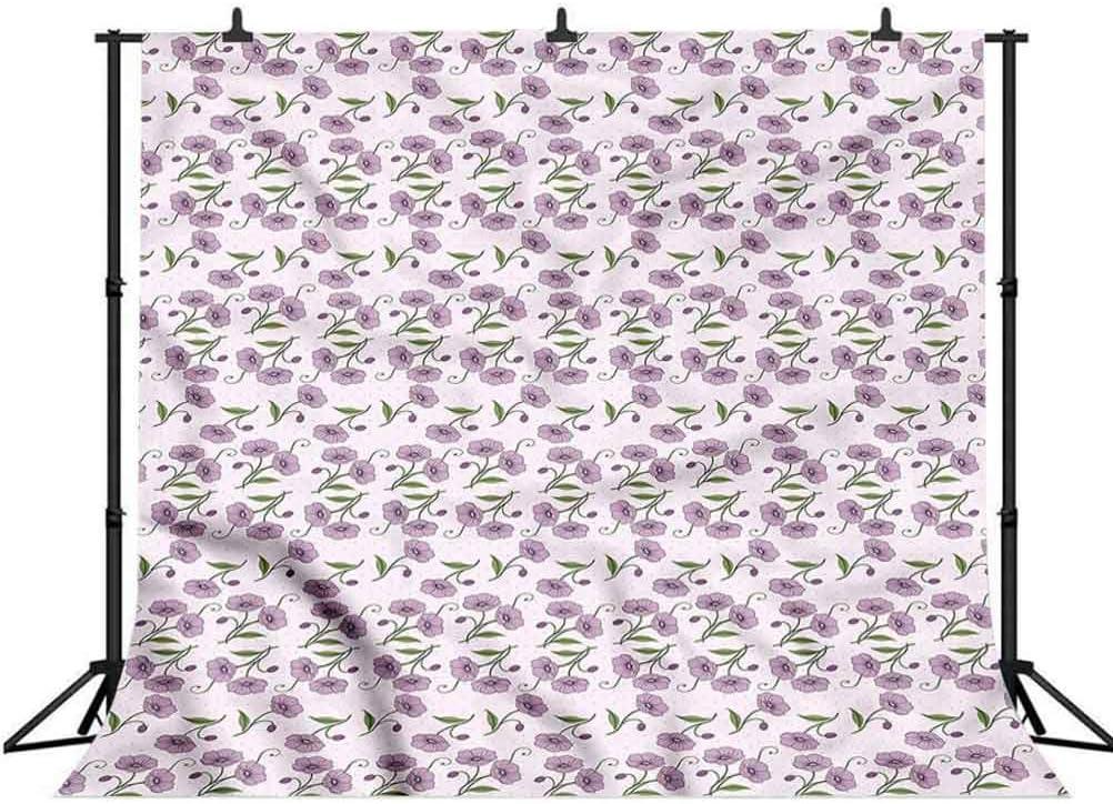 5x5FT Vinyl Photo Backdrops,Garden Art,Retro Violets Buds Photo Background for Photo Booth Studio Props