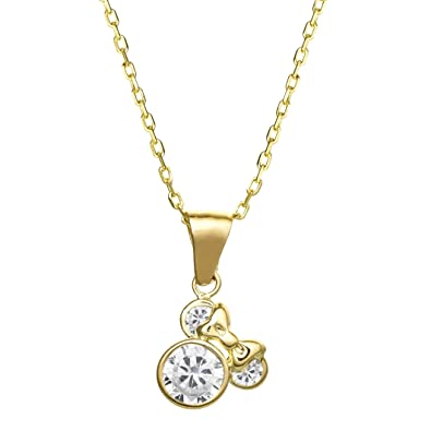 49fdef900cf Disney Minnie Mouse Jewelry for Women and Girls, 14k Yellow Gold Cubic  Zirconia Pendant Necklace