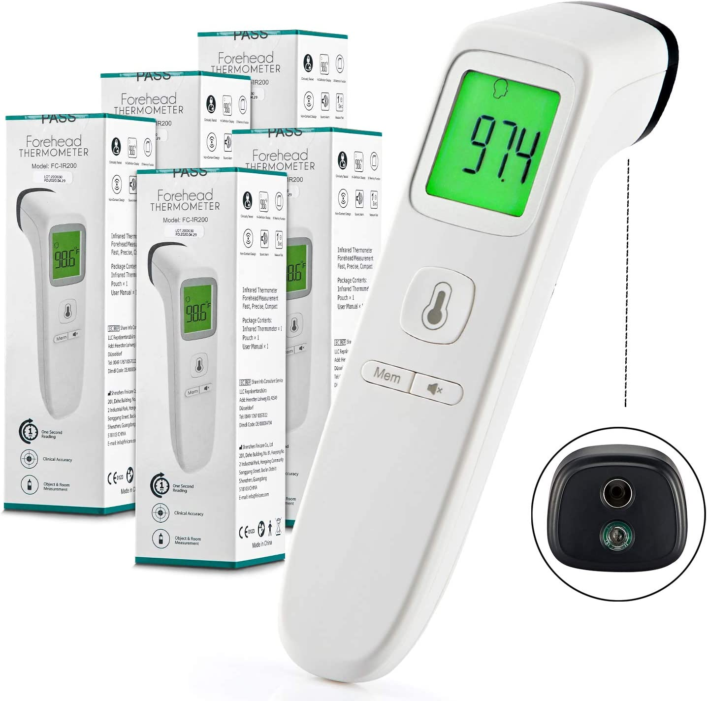 Non-Contact Digital Thermometer with Instant Accurate Reading Forehead Thermometer Digital Infrared Thermometer for Kids and Adults Fever Alarm and Memory Function