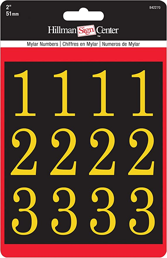 32 Piece Set ToolUSA CECOMINOD021642 Non-Adhesive 1 Tall Golden Plastic Numbers