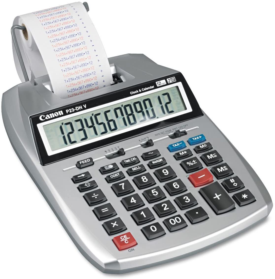 Canon P23DHV P23-DHV 12-Digit Printing Calculator, Purple/Red Print, 2.3 Lines/Sec