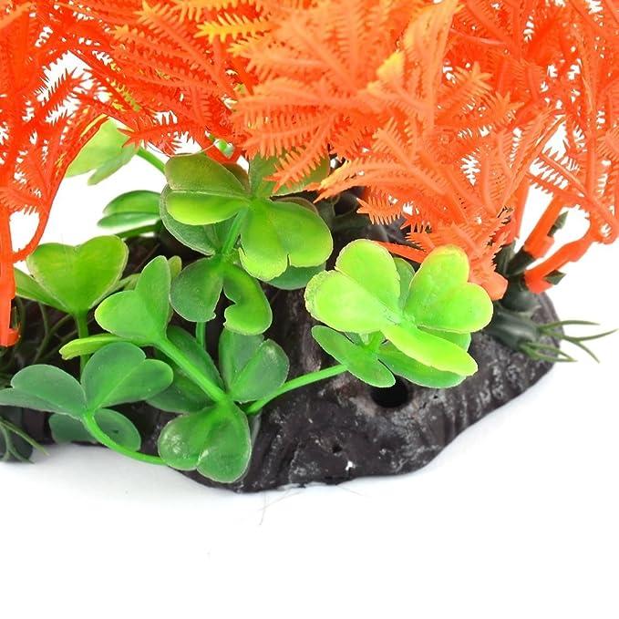 Amazon.com : eDealMax acuario plástico del tanque de pescados de la decoración del ornamento Artificial de la planta de agua falso Hierba DE 8 pulgadas ...