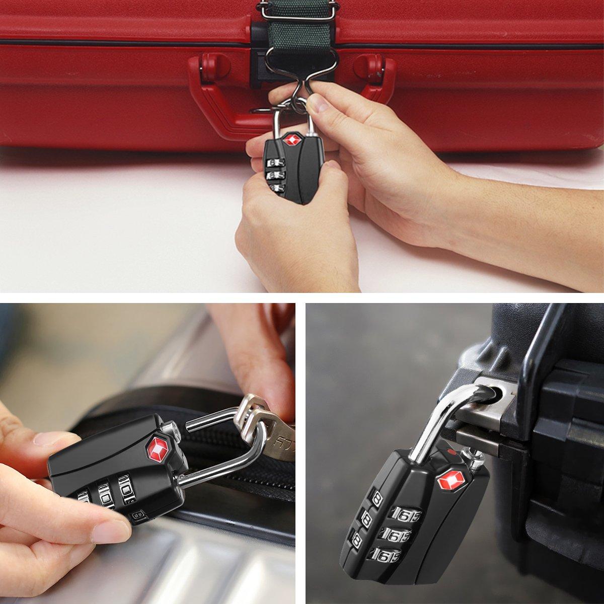 KeeKit Combination Locks, TSA Approved Luggage Locks with Open Alert Indicator, TSA Luggage Locks for Travel, Suitcase, Baggage & Backpack, Gym Locker (Black, 2 Pack) by KeeKit (Image #7)