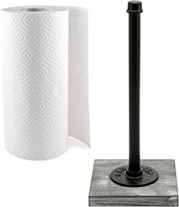 MyGift 13-Inch Industrial Pipe Design Standing Paper Towel Roll Holder with Rustic Gray Whitewashed Wood Base