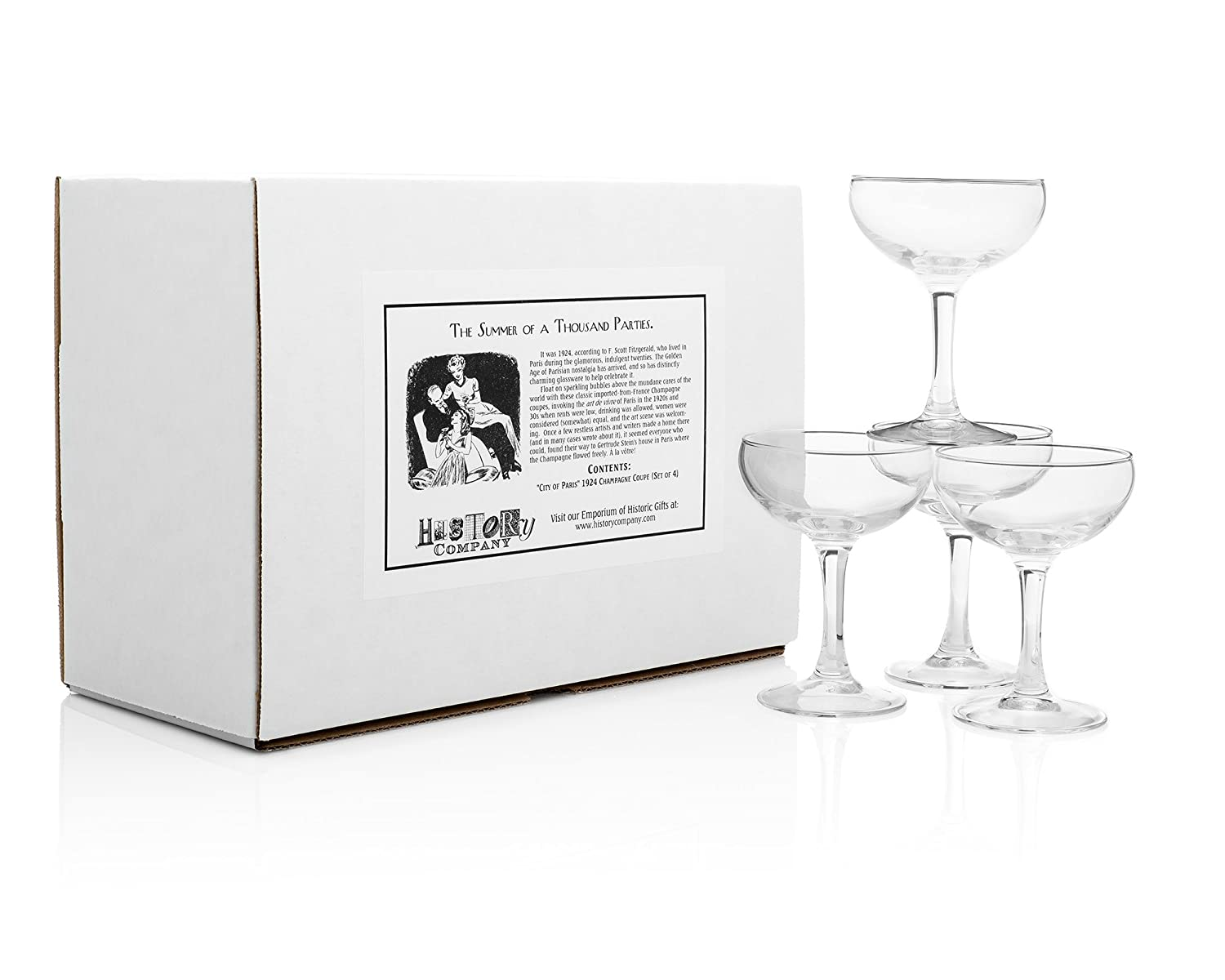 """""""City of Paris"""" 1924 Champagne Coupe (Gift Box Set of 4) HISTORY COMPANY TT47"""
