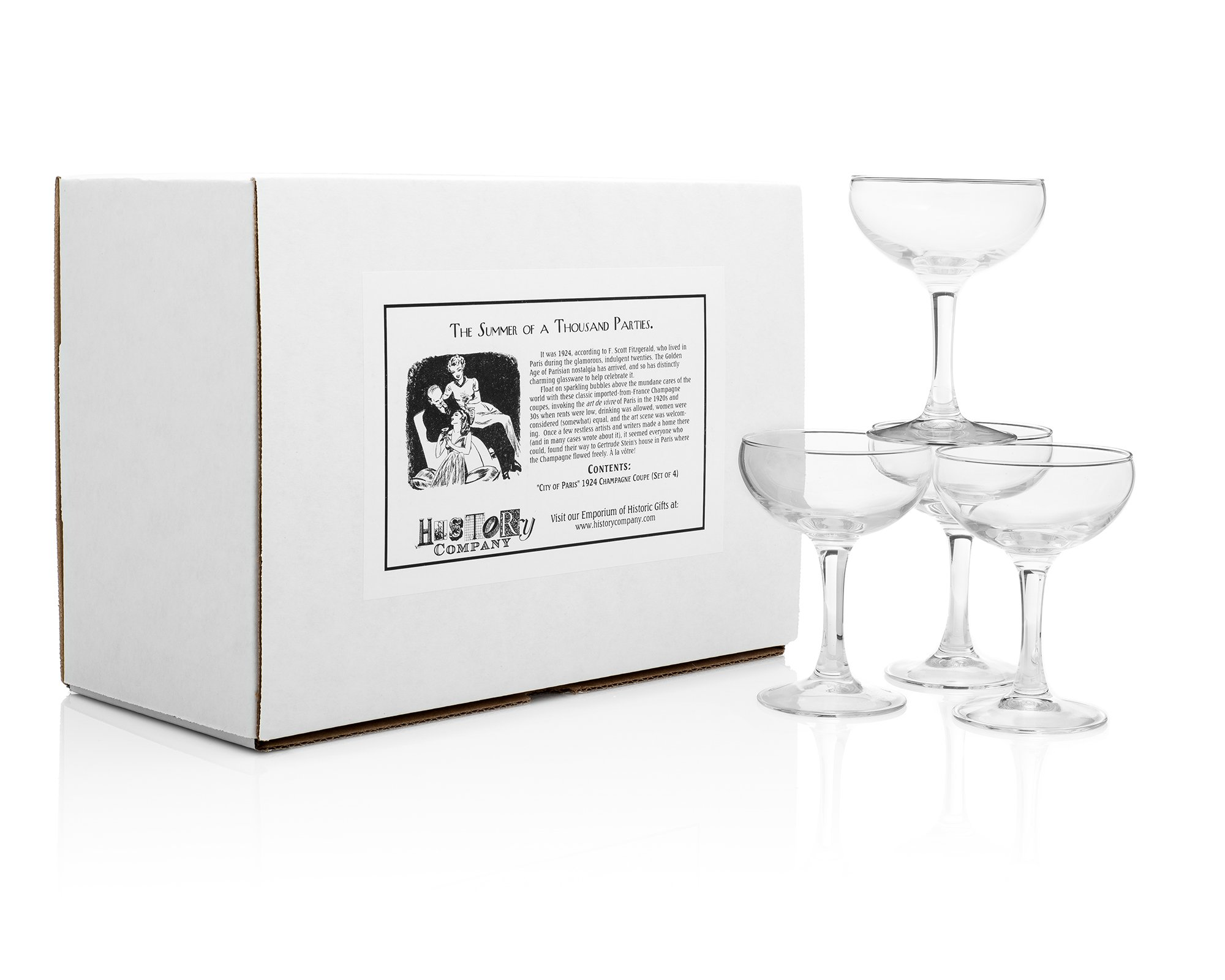 ''City of Paris'' 1924 Champagne Coupe (Gift Box Set of 4) by HISTORY COMPANY