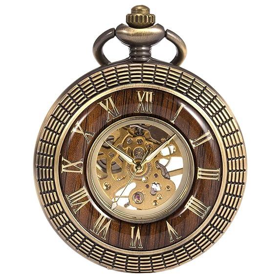 Reloj de Bolsillo SIBOSUN Esqueleto Mecánico Hombres Imitación de Madera Manos Luminosas Números Romanos Caja de Cadena: Amazon.es: Relojes