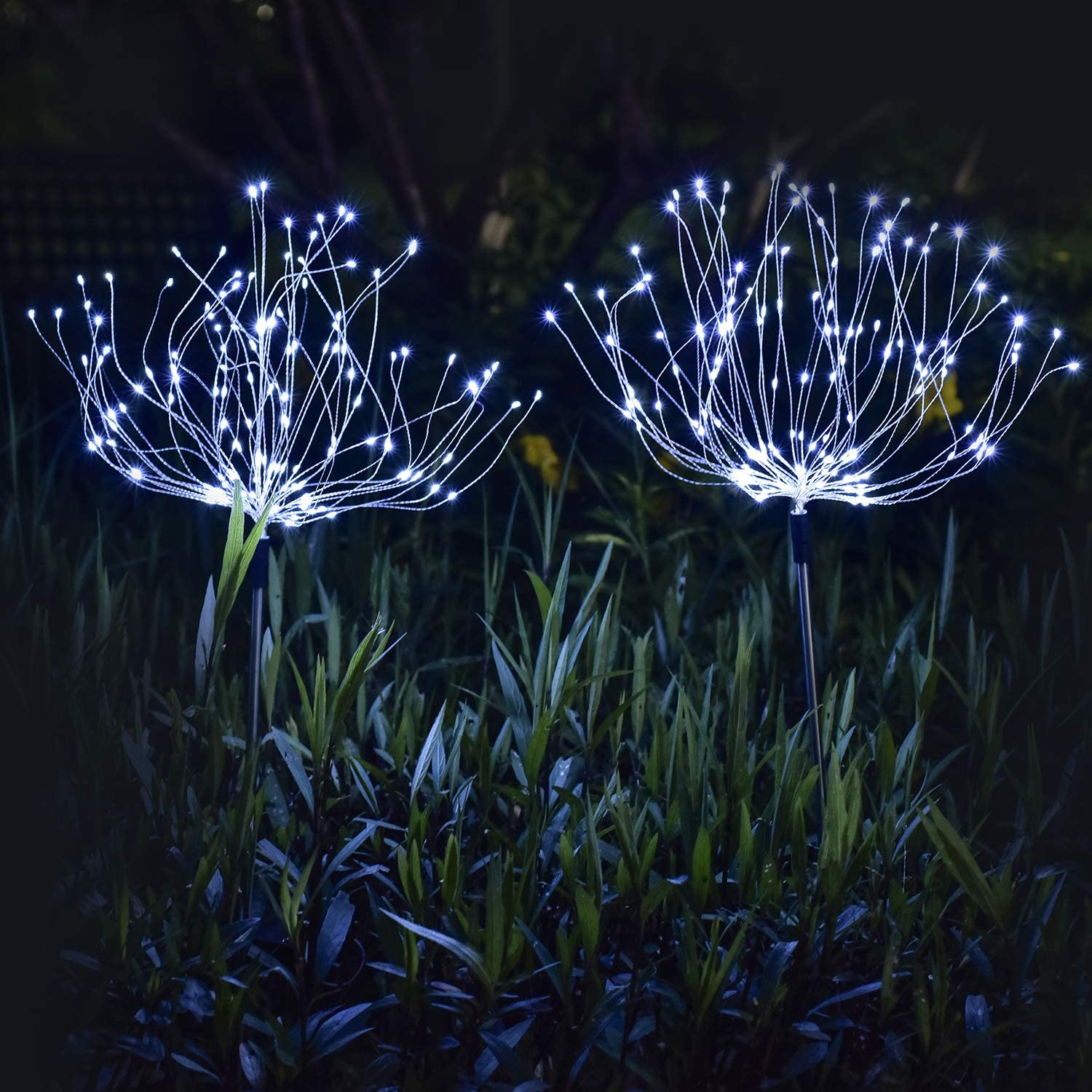 [2 Pack] ooklee Solar Garden Lights, Firework Lights, 150 LED 8 Flash Modes Copper Wires String Landscape Light Stake Fairy Light Flowers Trees for Walkway Patio Lawn Backyard Christmas (Cool White)