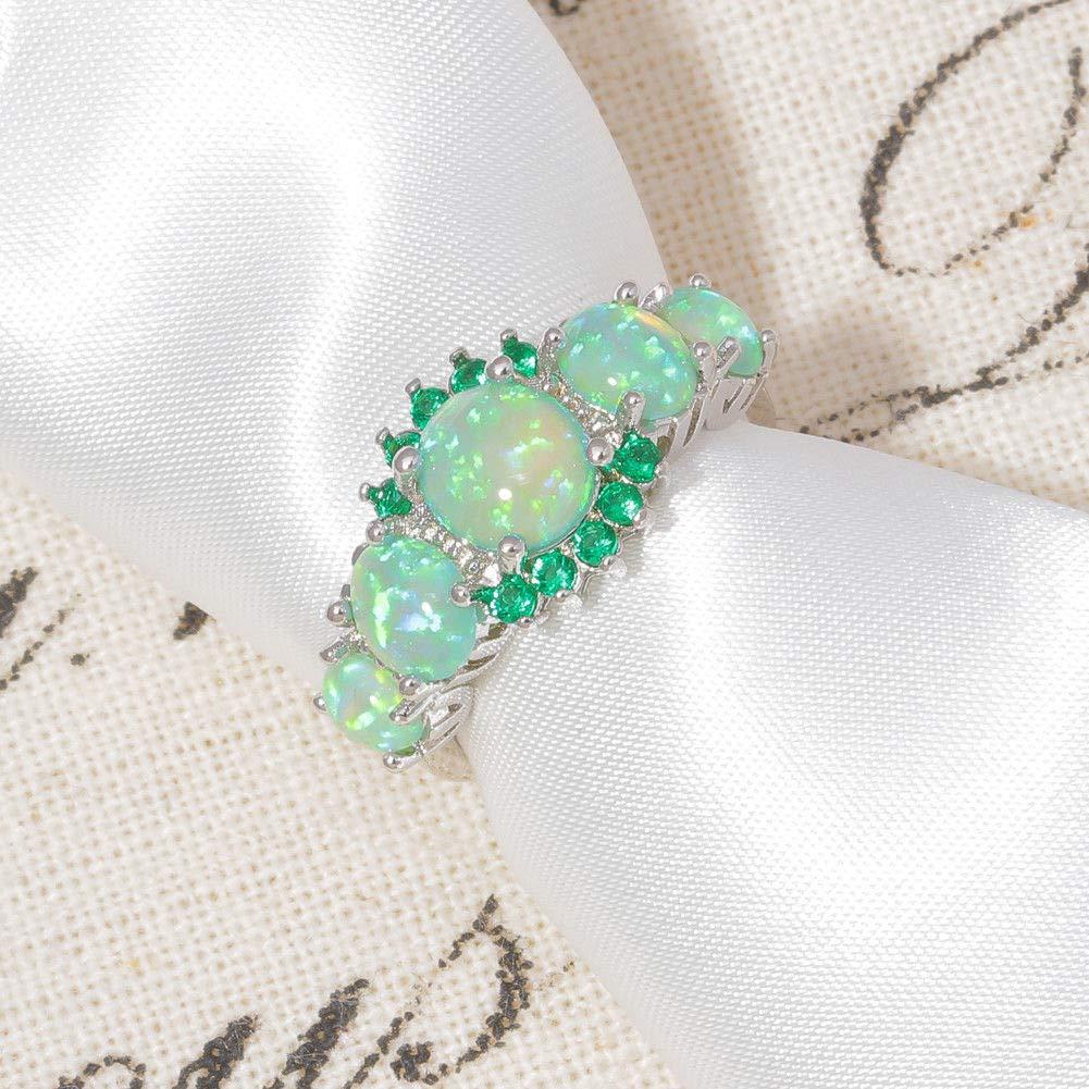 FidgetGear Green Fire Opal /& Emerald Women Jewelry Gemstone Silver Ring Size 5-12 OJ7552 11