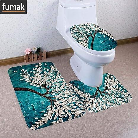 3PCS Bathroom Carpet Non-Slip Pedestal Rugs /& Lid Toilet Covers /& Bath Mat Sets