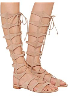 5aef920c74e5 SCHUTZ Shyla Tanino Nude Nubuck Lace-up Leather Gladiator Sandals Beige  Tall Erlina
