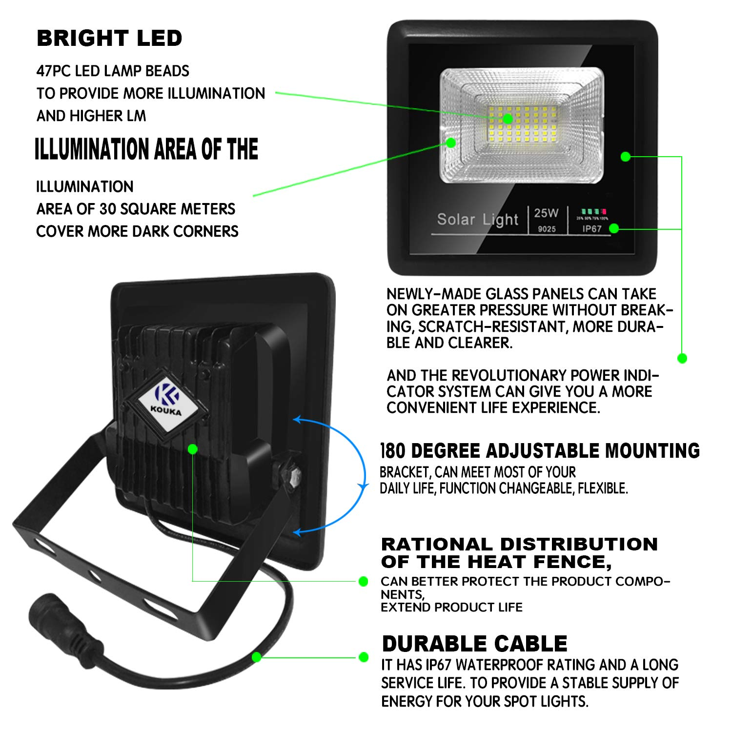 Solar Flood Lights Outdoor Remote – LED Solar Powered Street Security Lighting Waterproof Auto On Off Adjustable Install for Garden Yard Pathway