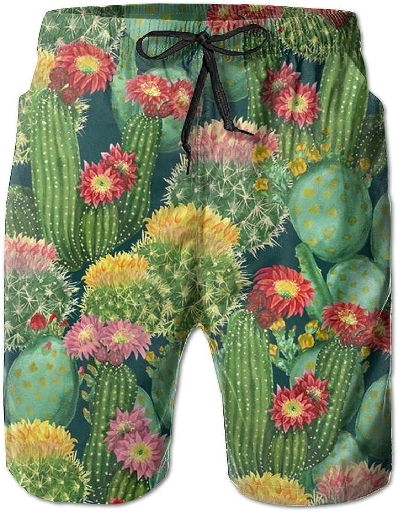 TO-JP Womens 3D Printing Beach Shorts Cactus Garden Swim Trunks