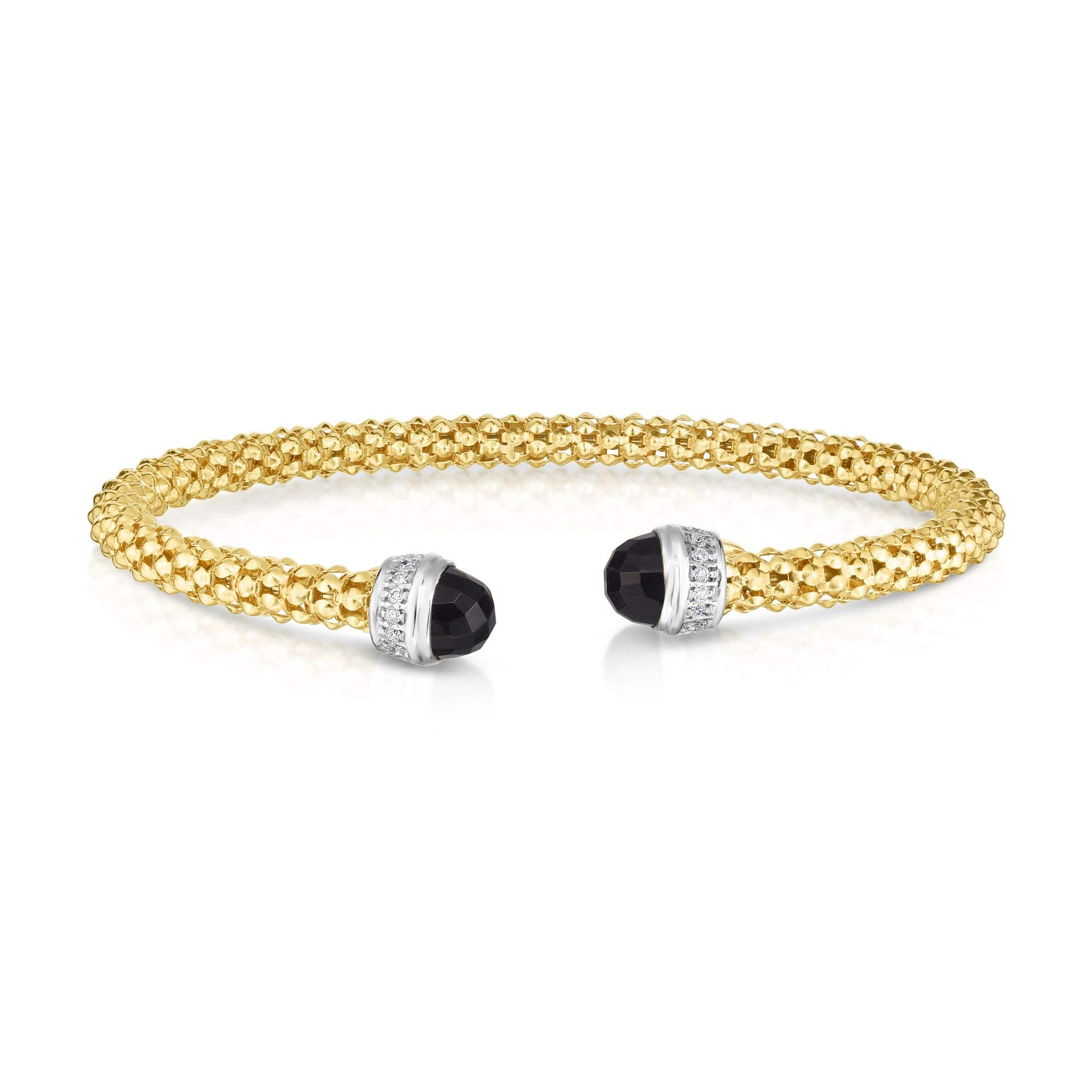 14K Yellow Gold 7mm Textured Fancy Cuff Popcorn Bangle 0.09ct Diamonds and 2ct Round Black Onyx by IcedTime (Image #1)