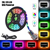 2 Meters TV Backlighting LED Light Strip Kit with Remote Control USB Multi-Color 5050 RGB Waterproof Bias Lamp for Kitchen Home Theater Laptop PC Monitor