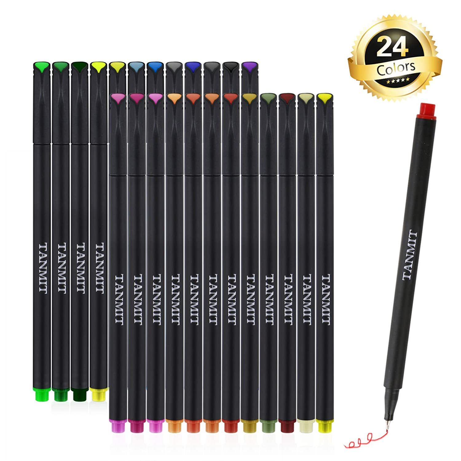 Fineliner Pens Colored Fine Tip Markers, Fine Point Bullet Journal Pens Sketch Writing Drawing Markers Set for Coloring Book Taking Note Calendar (24 Colors) ZCDF