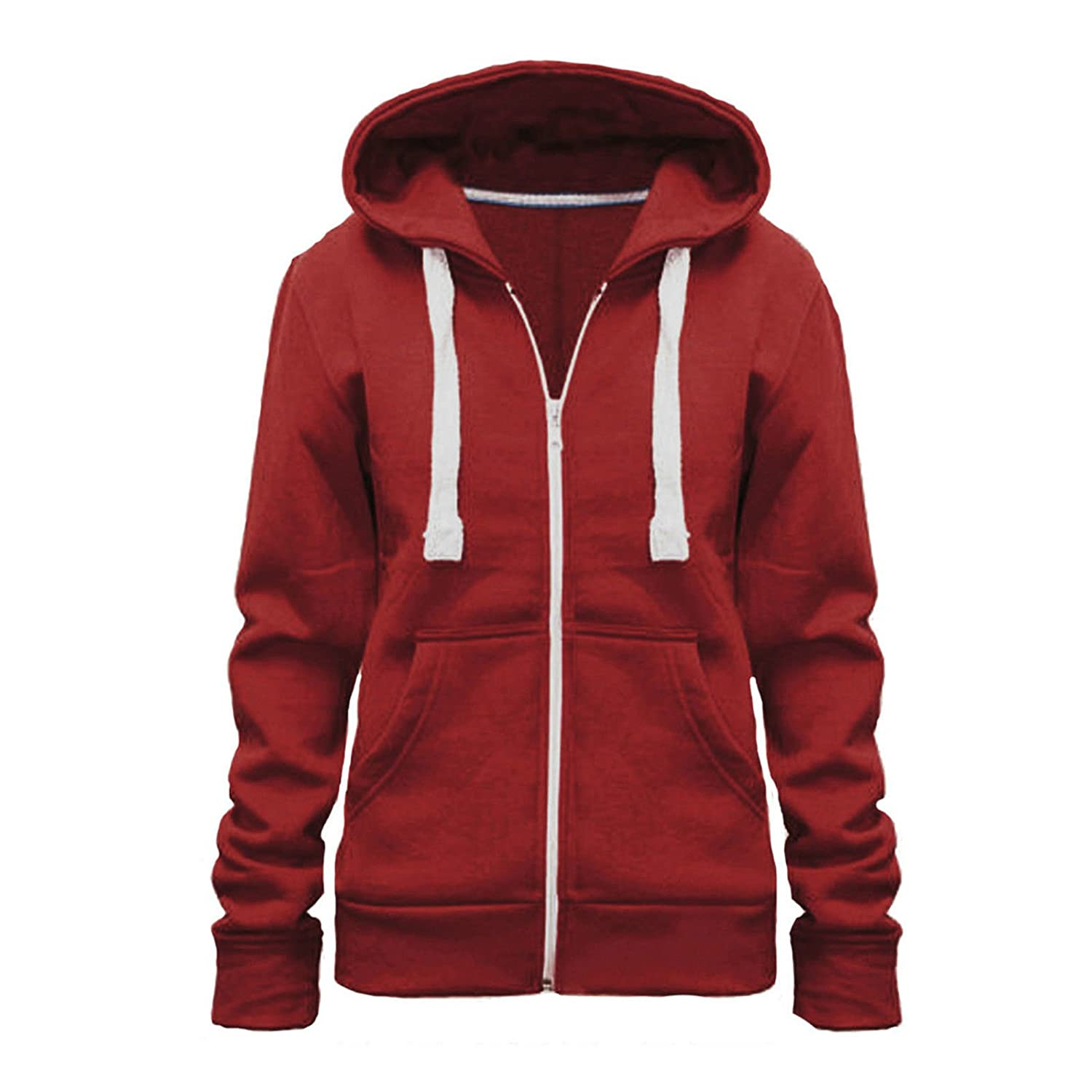 ASBAHFASHION Ladies-Sweatshirt-Zip-Jacket-Coat-Hoodie-Plain-Fleece-Hooded-Hoody Ladies-Sweatshirt-Zip-Jacket-Coat-Hoodie-Jumper-Womens-Plain-Fleece-Hooded-Hoody From Size Small To 5XL