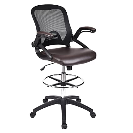 Beau Drafting Chair Tall Office Chair For Adjustable Standing Desks With Flip Up  Arm In Brown