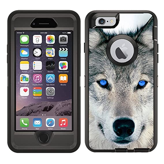 buy popular 10c45 487d9 Protective Designer Vinyl Skin Decals/Stickers for OtterBox Defender iPhone  6 / iPhone 6S Case -Blue Eyed Wolf Face Wolves Design Patterns - Only ...