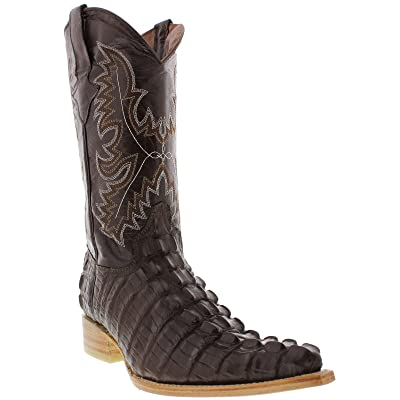 Texas Legacy - Men's Brown Crocodile Tail Print Leather Cowboy Boots 3X Toe