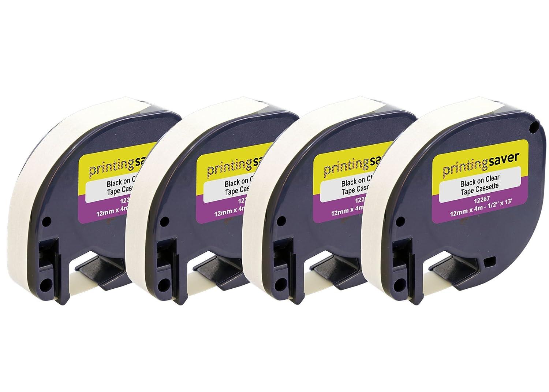 2 Nastri Compatibili LetraTag S0721530 12mm x 4m Nero su Trasparente Etichette in Plastica per DYMO LetraTag LT-100H LT-100T LT-110T QX50 XR XM 2000 Plus