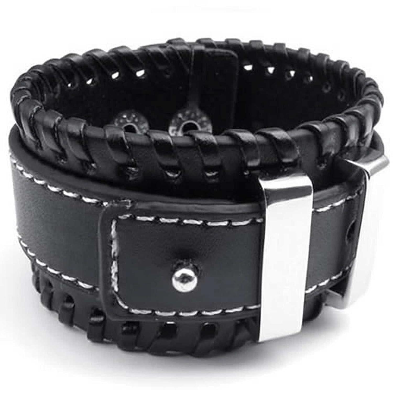 ANAZOZ Stainless Steel 7.5-8 Black Rock Cuff Bracelet Leather Bangle Wide Silvery Mens Jewelry