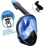 Udaily Full Face Snorkel Mask 180° Panoramic Design and Free Breathing Design, Action Camera GoPro Compatible, Anti-Fog and Anti-Leak for Adult and Kids Snorkeling Mask