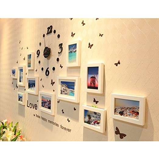 Amazon.com: Creative Wall Decor Collage Photo Frame Set with Clock ...