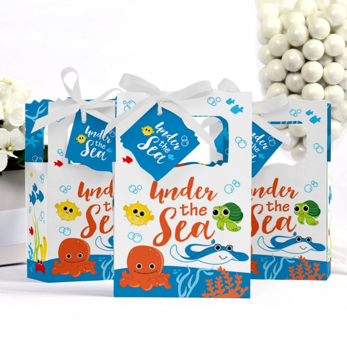 Baby Shower or Birthday Party Favor Boxes Set of 12 Under the Sea Critters