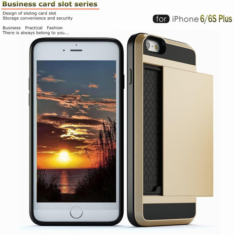 Amazon.com: iPhone 6 plus 6s plus Case, Slidable Card Slot Wallet ...
