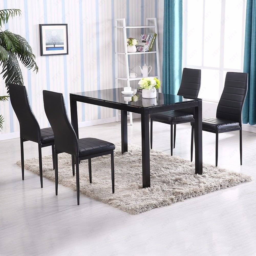 Alek...Shop 5 Piece Table Dining Set Chairs Furniture 4 Chairs Glass Metal for Kitchen Room Breakfast