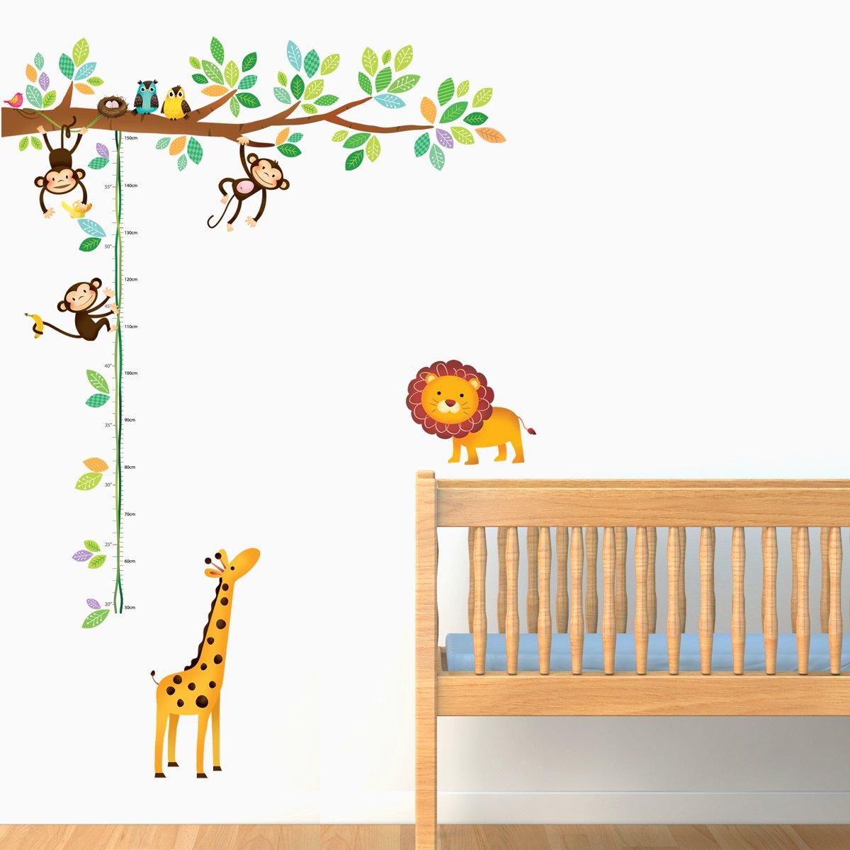 amazon com decowall dw 1402 little monkeys tree animals height amazon com decowall dw 1402 little monkeys tree animals height chart peel and stick nursery kids wall decals stickers home kitchen