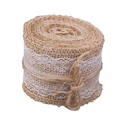 Generic hessian white lace burlap craft ribbon for vintage wedding generic hessian white lace burlap craft ribbon for vintage wedding home dcor junglespirit Gallery