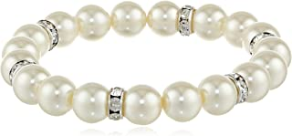 """product image for 1928 Jewelry """"Pearl Essentials"""" Silver-Tone White and Crystal Stretch Bracelet"""
