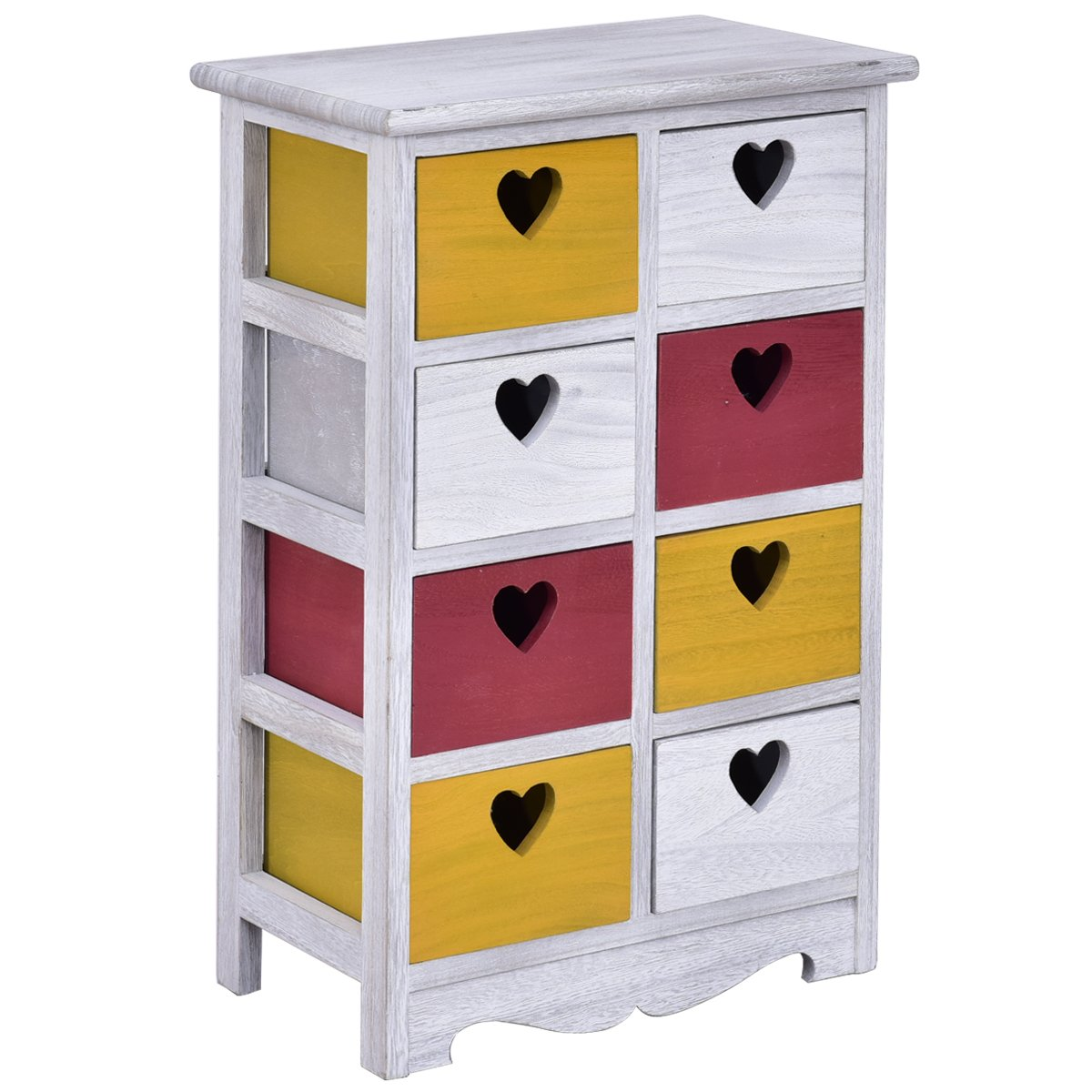 Giantex Colorful Wood Bedside Table Nightstand Cabinet Bedroom Chest 8 Storage Drawers Unit (8 Wood Drawers)
