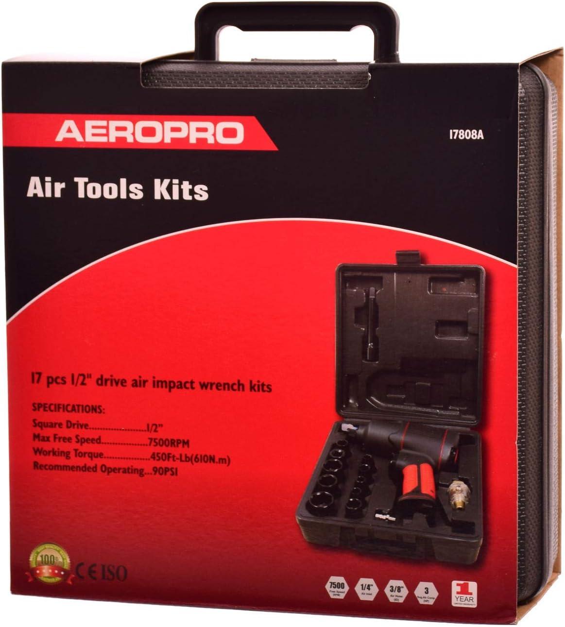 AEROPRO Druckluft Schlagschrauber 1//2 Zoll 1200Nm Industrie Luftdruck mit Buchsen Koffer