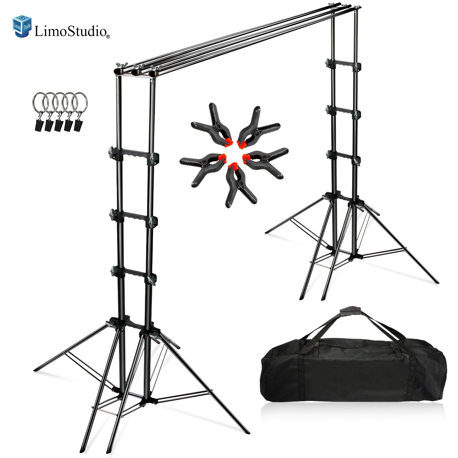 LimoStudio Photography Backdrop Sexapod Support System Stand with 6-Legged Support Stands, Max 10 ft. Cross Bar Sets, Spring Clamps, Backdrop Holders, and Carry Bag for Photo Video Studio, AGG2672