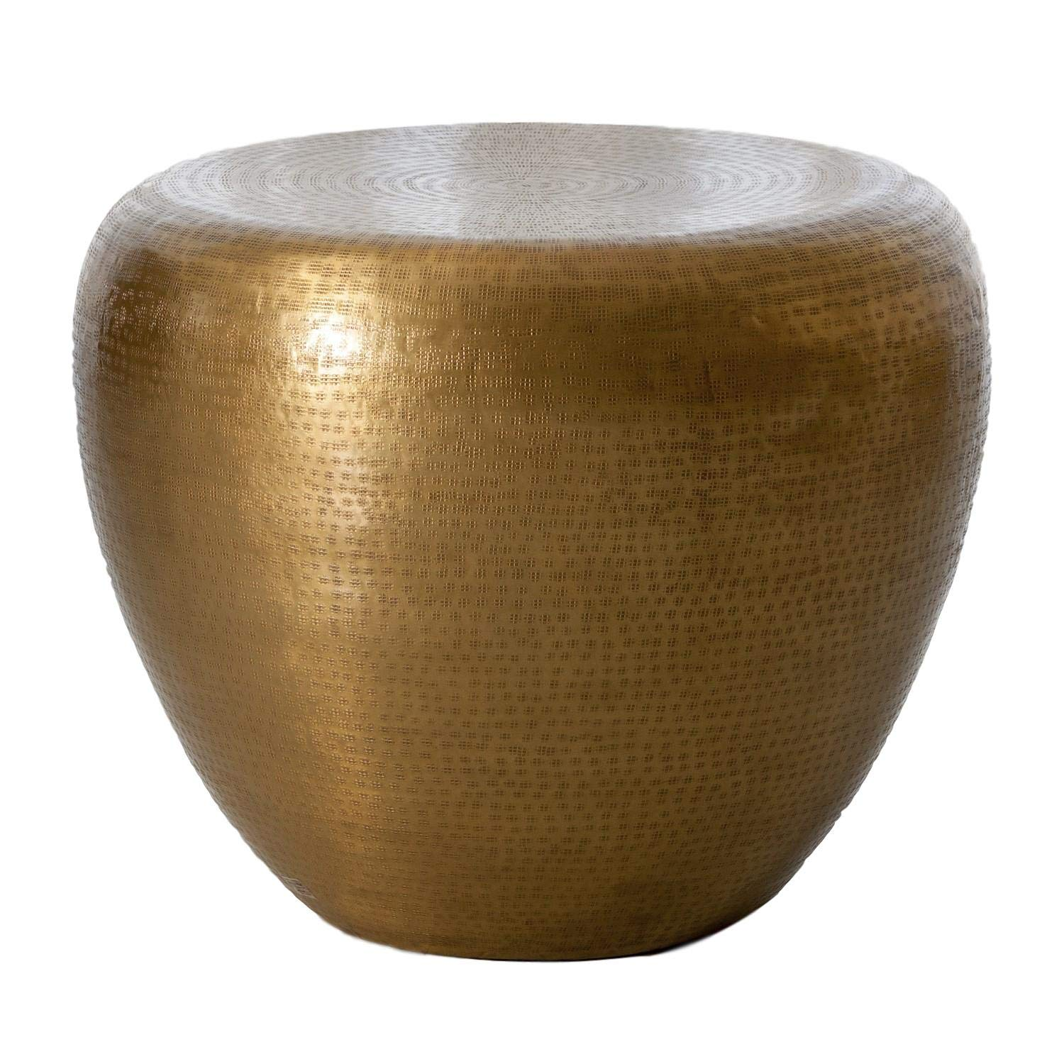 Amazon.com: Global Views Hammered Brass Drum Round End Table ...