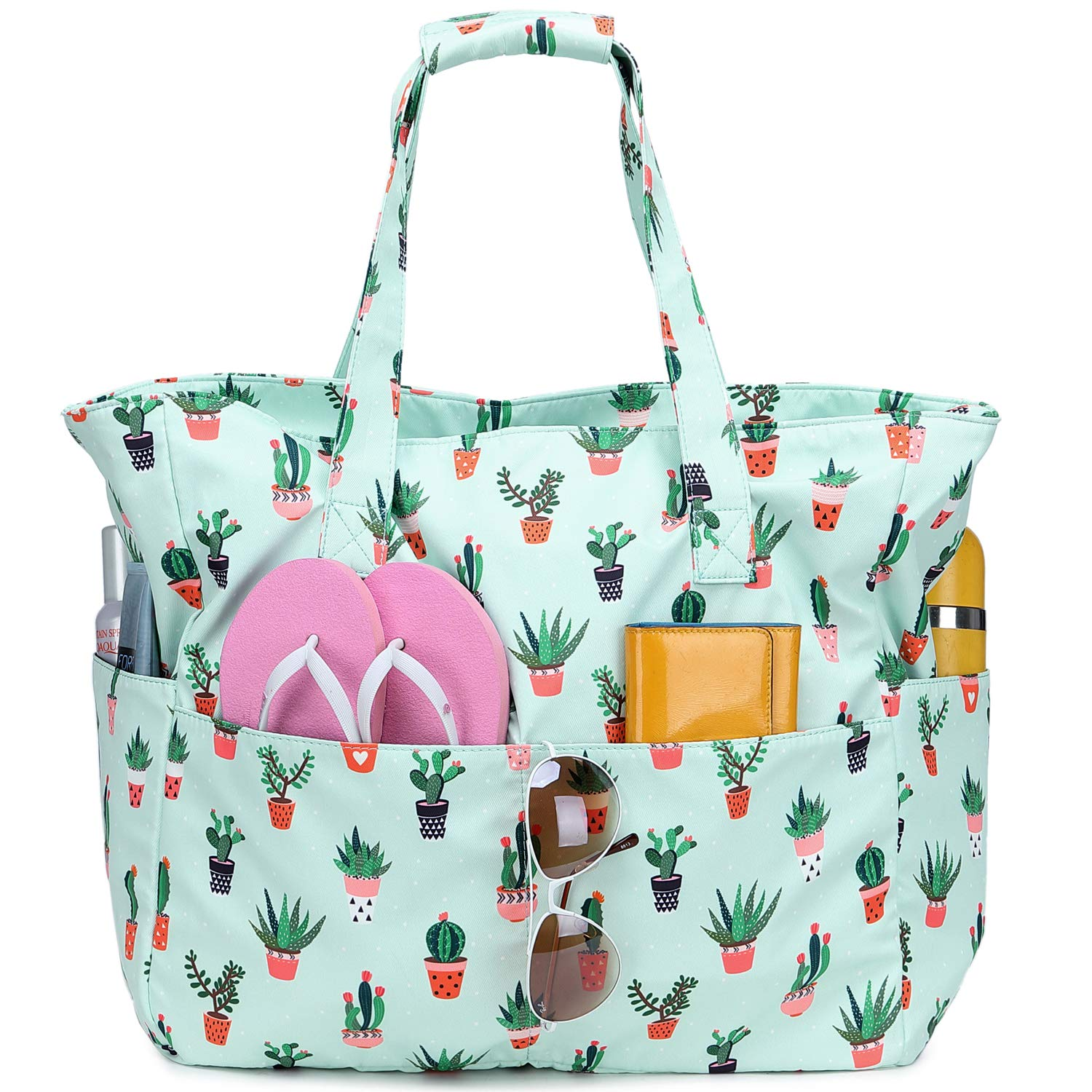 Waterproof Beach Tote Pool Bags for Women Ladies Extra Large Gym Tote Carry On Bag With Wet Compartment for Weekender Travel Cactus Green