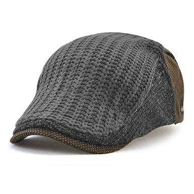 JAMONT Gorra plana de tejido ajustable para hombres, gorra de ...